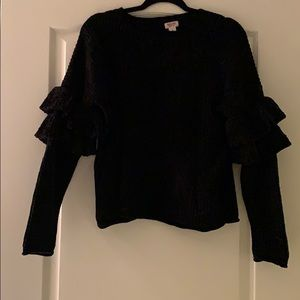 Mossimo Chenille chunky sweater with ruffle sleeve